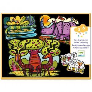 Djeco Fluwelen Kleurplaten - Dieren van de Savanne
