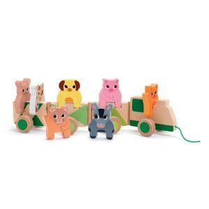 Djeco trekfiguur - houten trein Boerderij