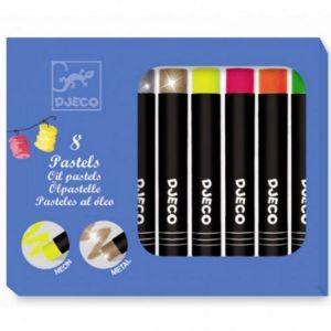Djeco kleuren - 8 olieverfkrijtjes metallic & fluor