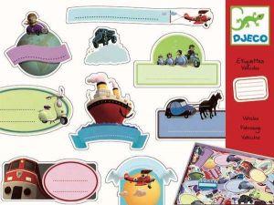 Djeco labels - Etiketten Voertuigen