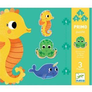 Djeco Primo Puzzel - In de zee (4,6 en 9 stukjes)