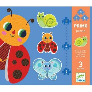 Djeco Puzzel Primo - In de tuin (3,4 en 5 stukjes)