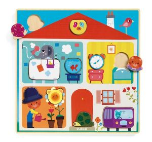 Djeco houten puzzel - dieren in huis 'swapy'