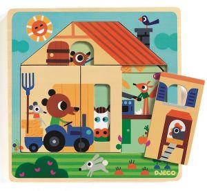 Djeco houten puzzel 3 lagen - Boerderij