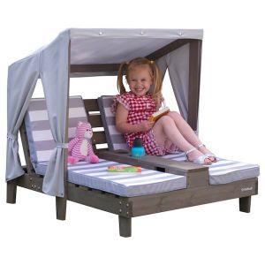 Kidkraft 2-persoons ligstoel met zonnedak - grijs