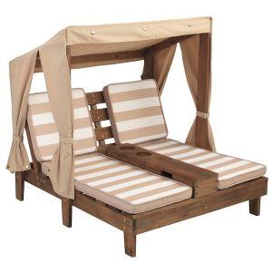 Kidkraft 2-persoons ligstoel met zonnedak - espresso