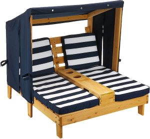 Kidkraft 2-persoons ligstoel met zonnedak - blauw